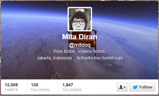 Hasil screenshoot dari twitternya Mita (17/12/13)