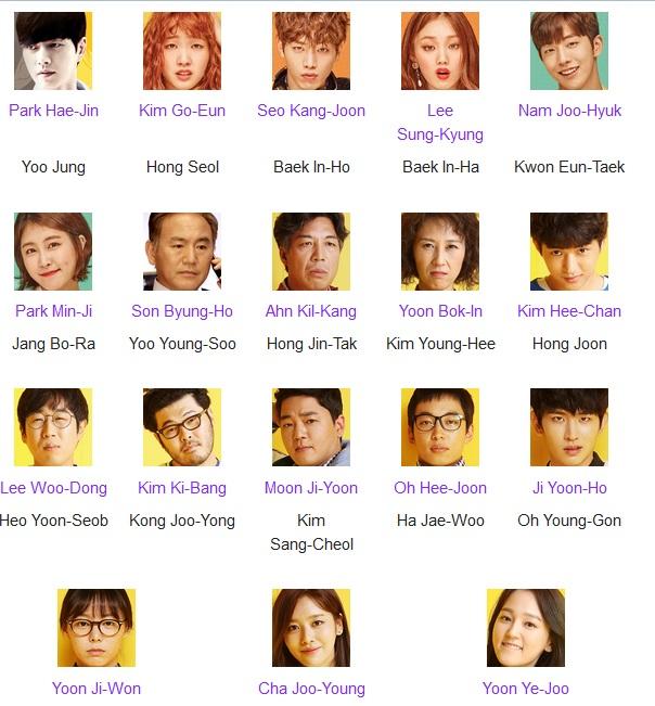 Cast Cheese in the Trap (Pemeran utama prianya Park Hae Jin tentunya aku pertama kali ingetnya di My Love From The Star. Pemeran ceweknya malah gak pernah lihat sama sekali. Kalau Nam Jo Hyuk pernah jadi pemeran utama di School 2015.