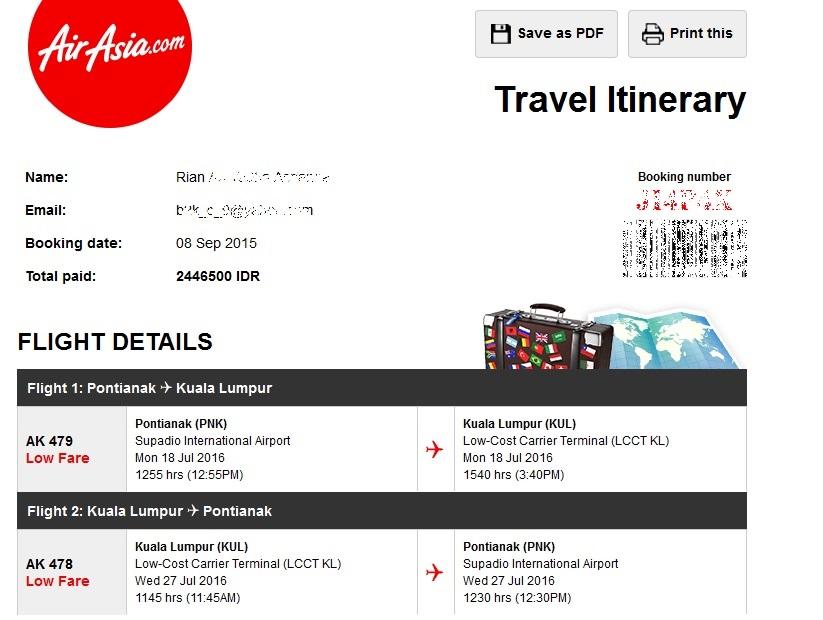 Tiket Pontianak - KL (PP)
